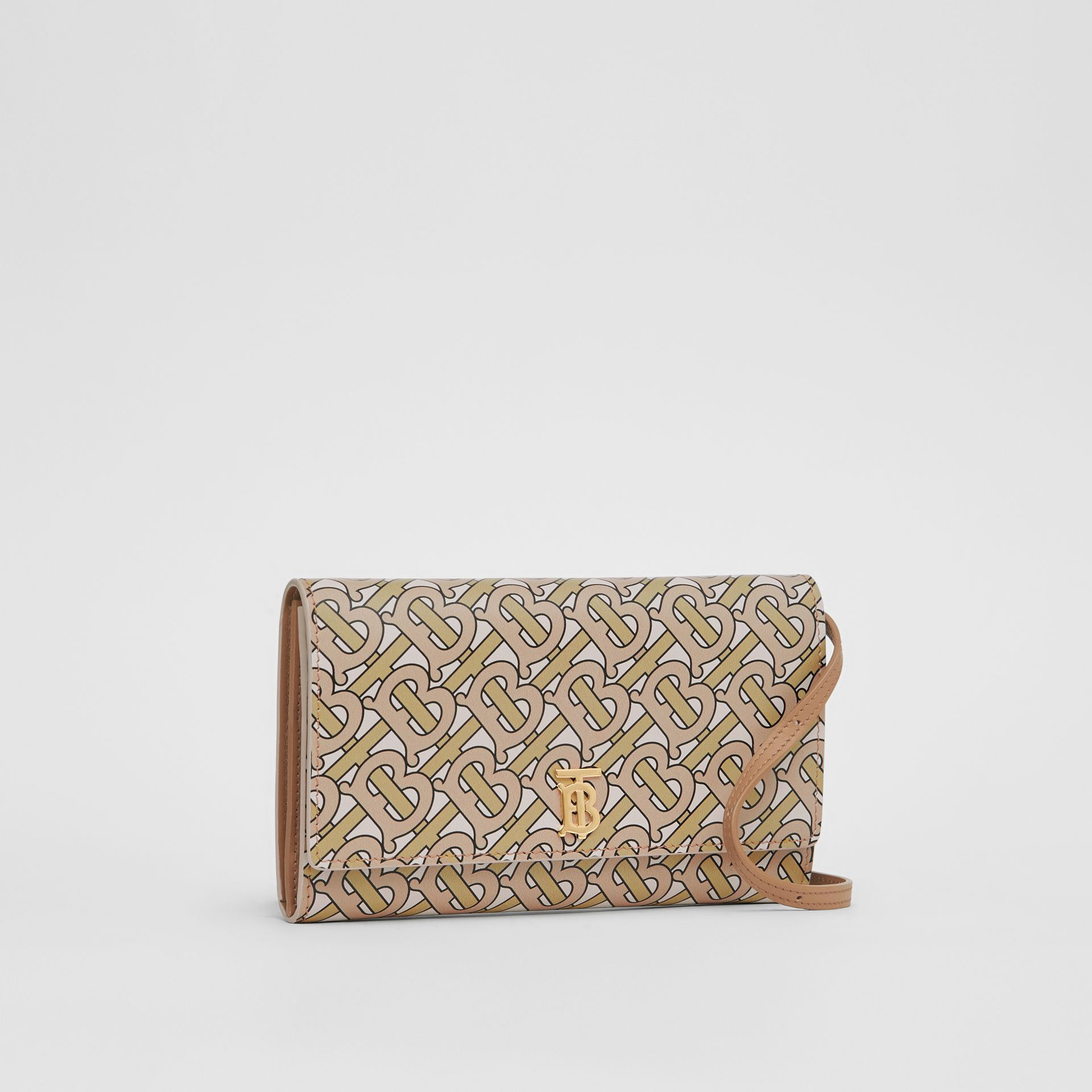 Monogram Print Leather Wallet with Detachable Strap in Beige - Women | Burberry - gallery image 6