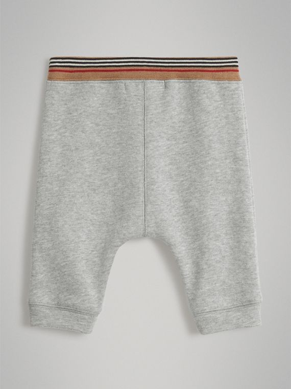 Heritage Stripe Cotton Jersey Sweatpants in Grey Melange | Burberry - cell image 3