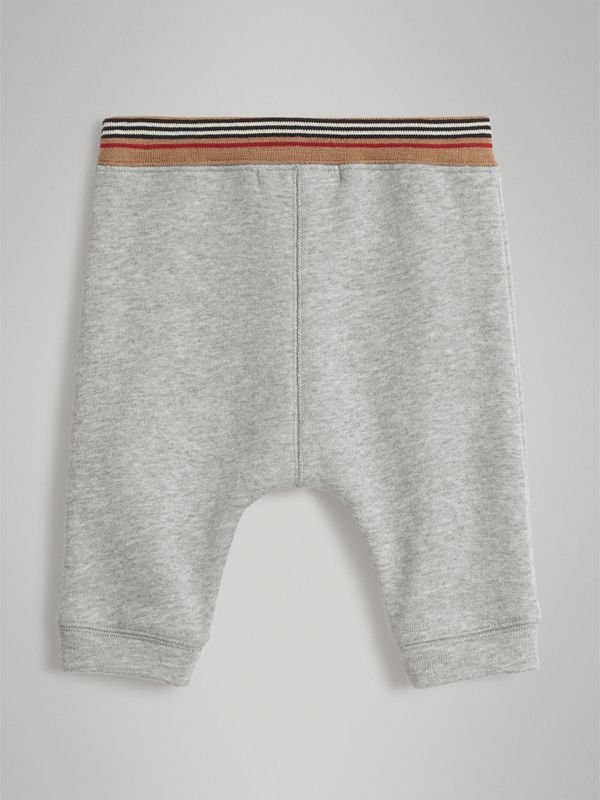 Heritage Stripe Cotton Jersey Sweatpants in Grey Melange - Children | Burberry - cell image 3