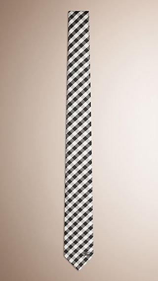 Slim Cut Check Jacquard Silk Tie
