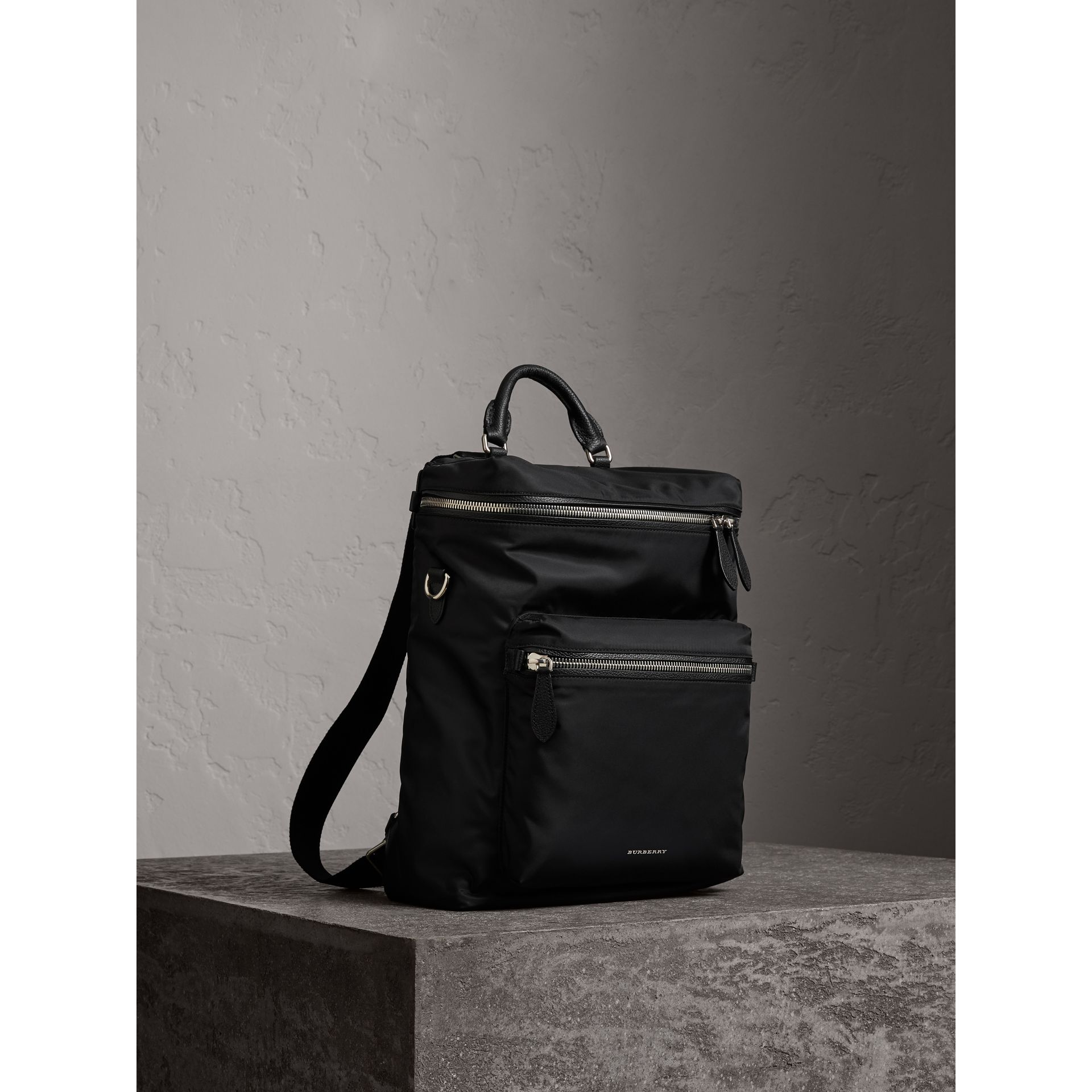 Zip-top Leather Trim Showerproof Backpack in Black - Men | Burberry - gallery image 8