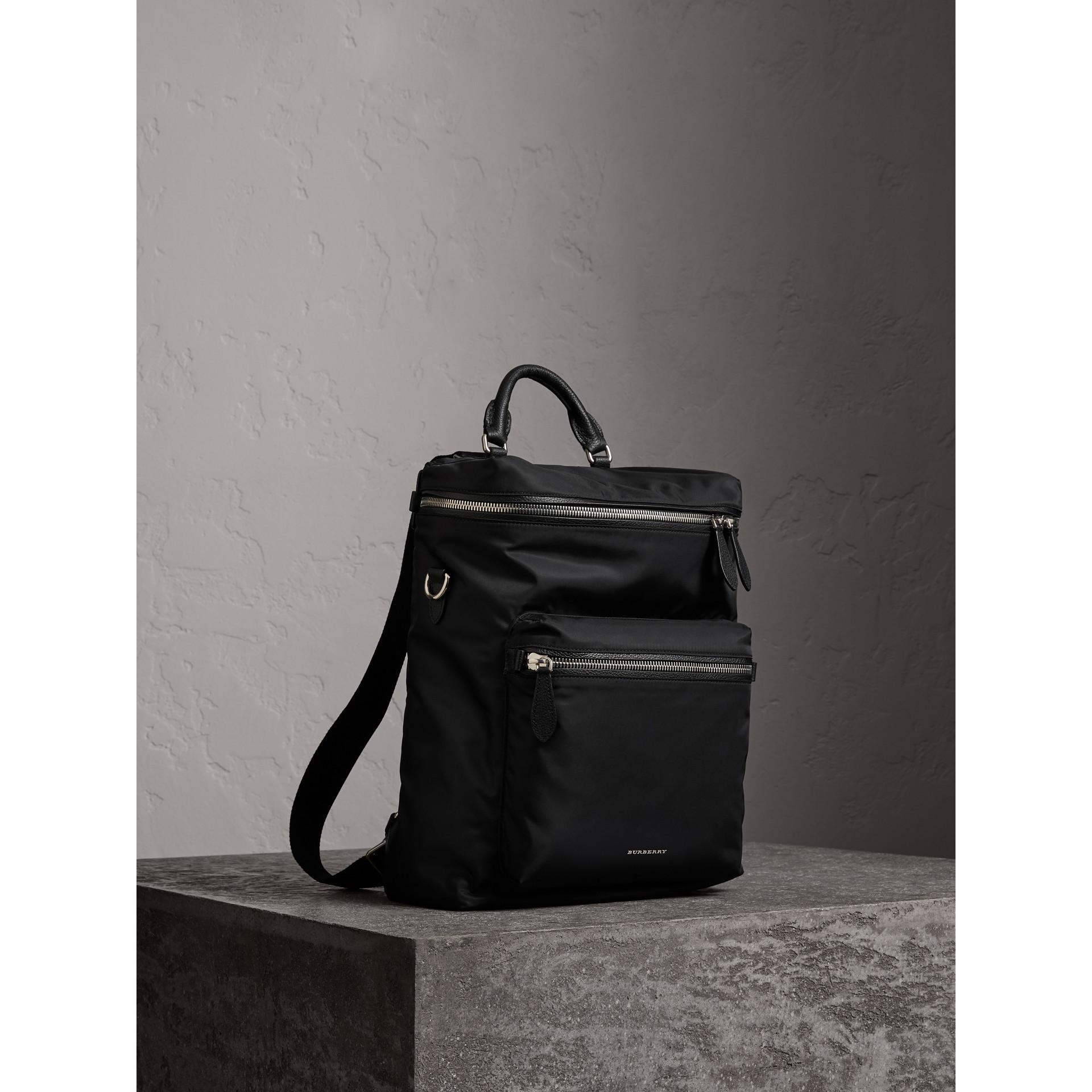 Zip-top Leather Trim Showerproof Backpack in Black - Men | Burberry Singapore - gallery image 8