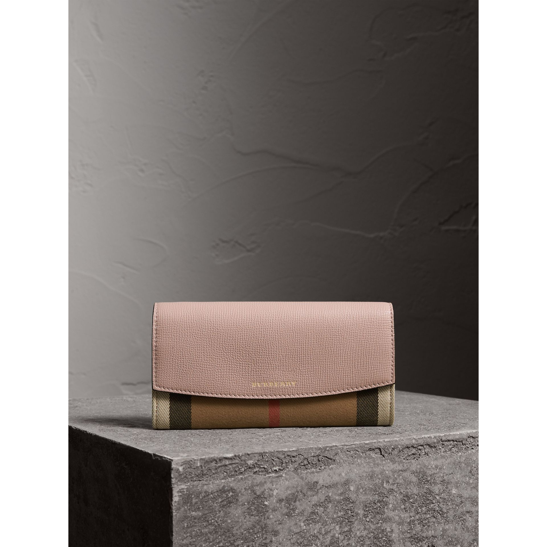 House Check And Leather Continental Wallet in Pale Orchid - Women | Burberry - gallery image 1