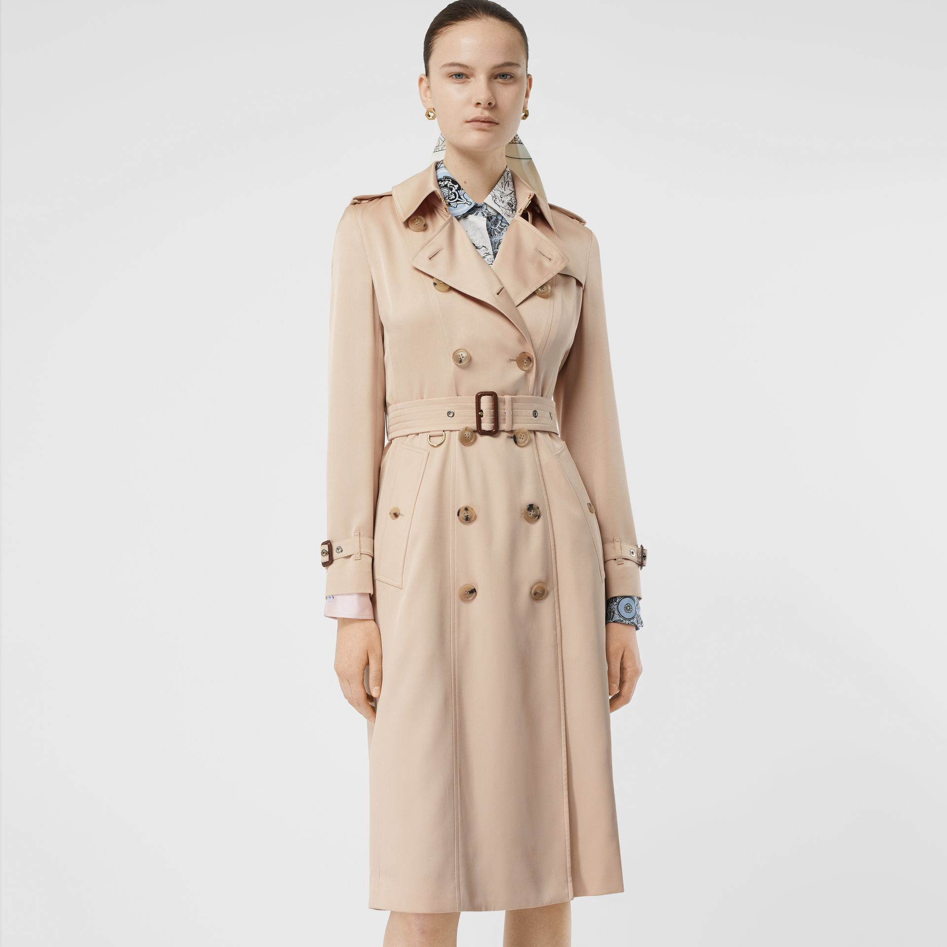 Silk Satin Trench Coat in Pale Blush - Women | Burberry - gallery image 5