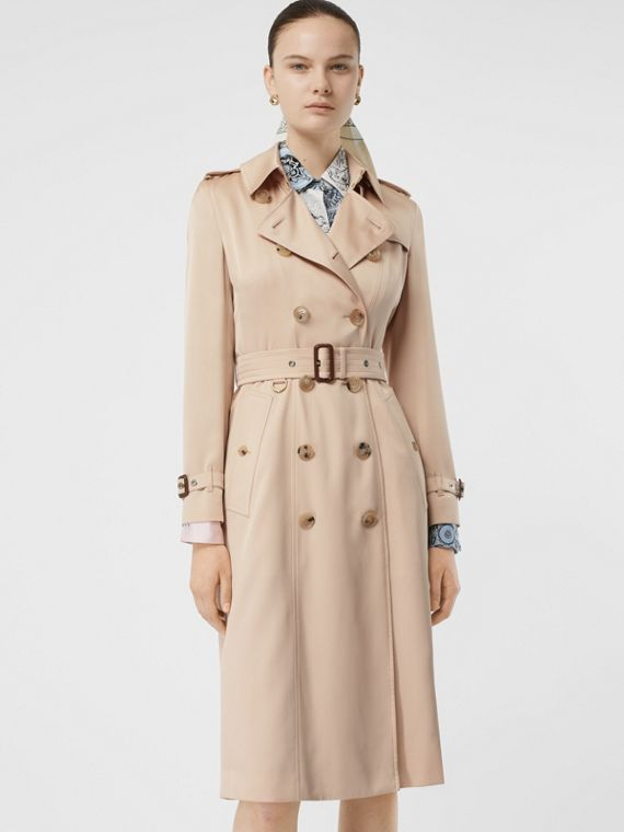 Silk Satin Trench Coat in Pale Blush