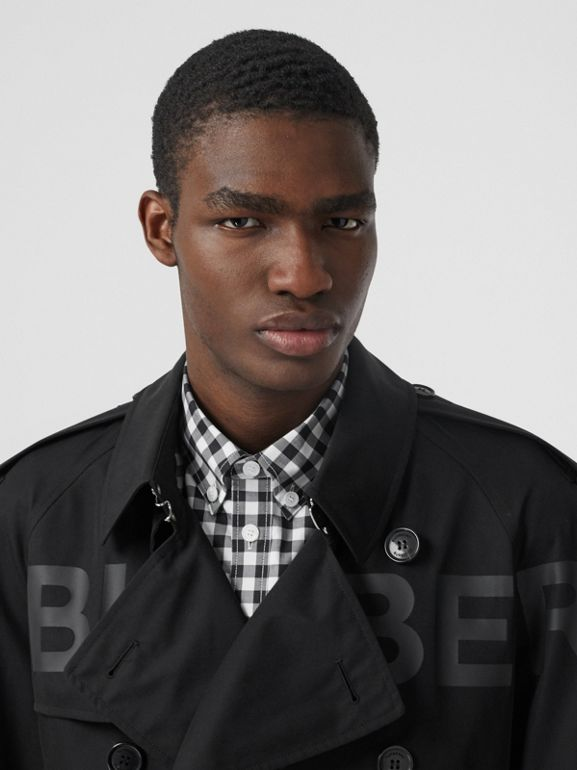 Horseferry Print Cotton Gabardine Trench Coat in Black - Men | Burberry - cell image 1