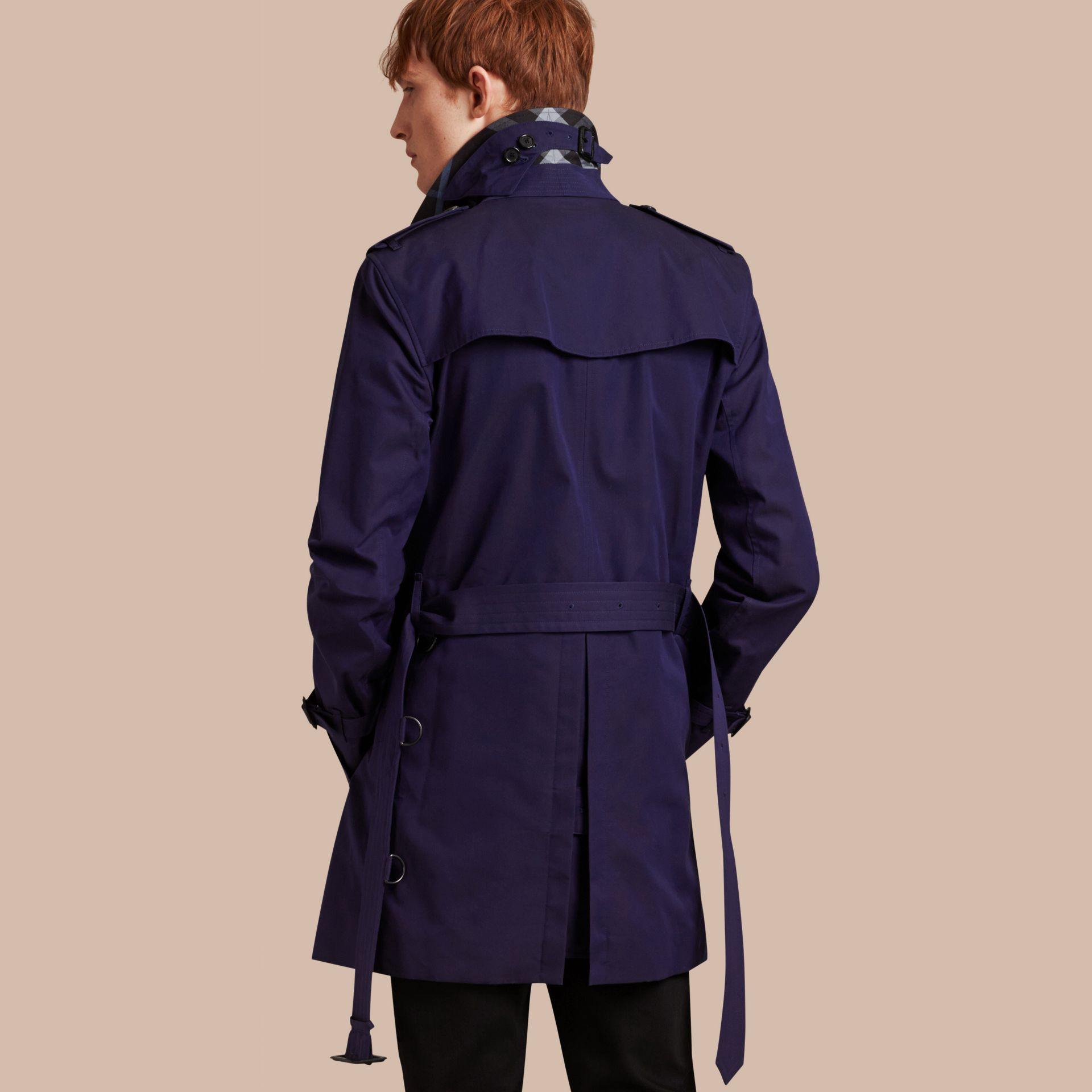 Blueberry Cotton Gabardine Trench Coat Blueberry - gallery image 2