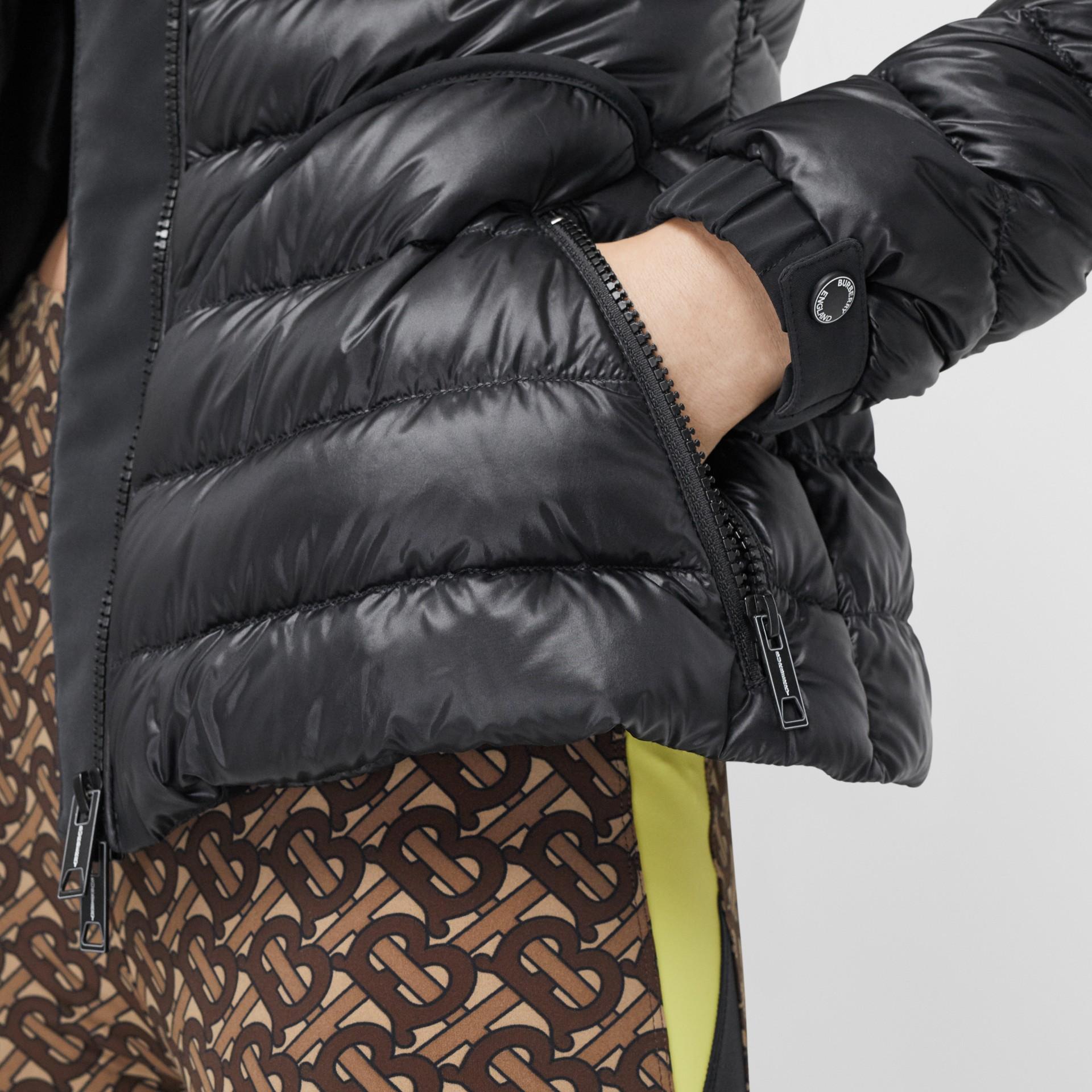 Packaway Hood Peplum Puffer Jacket in Black - Women   Burberry United Kingdom - gallery image 4