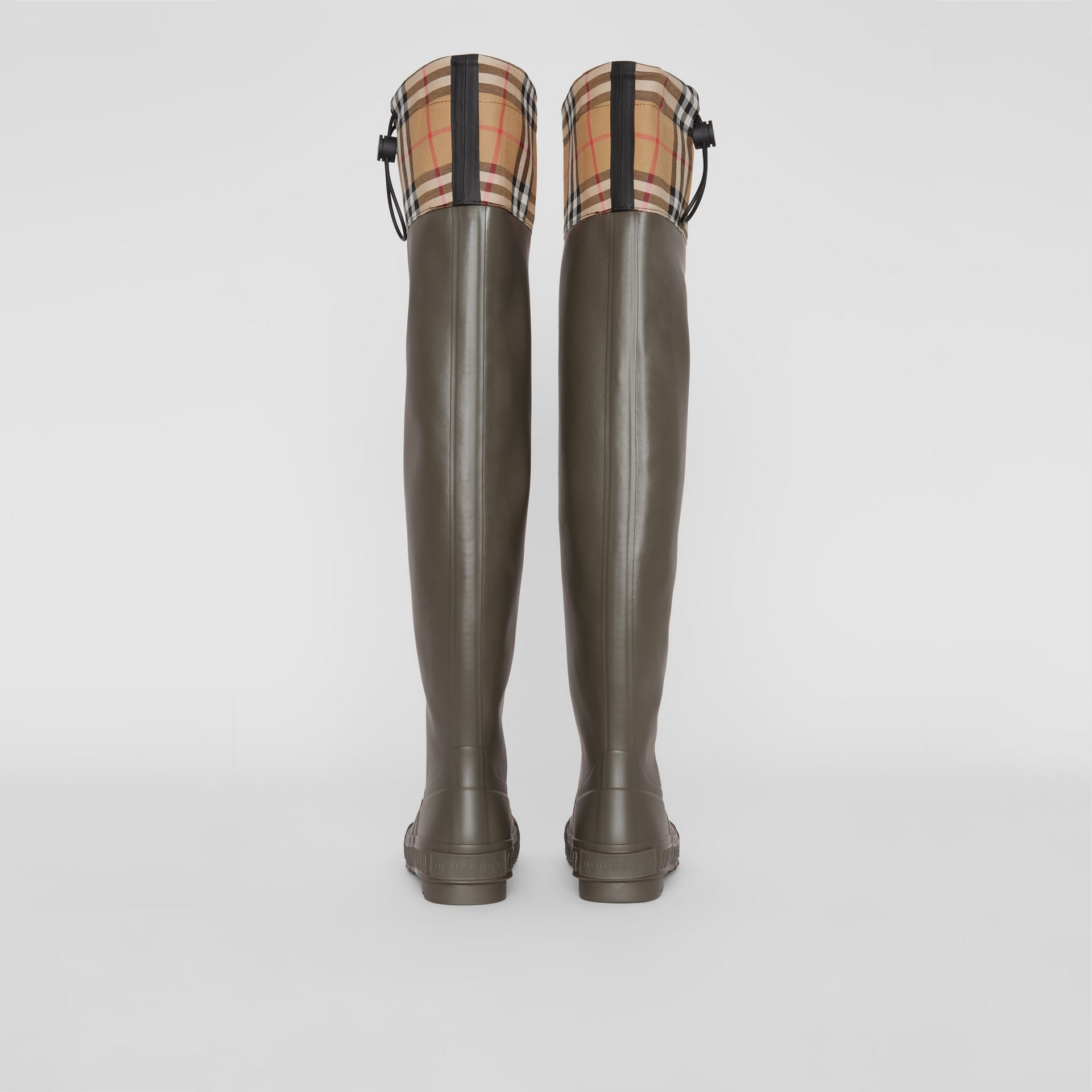 Vintage Check and Rubber Knee-high Rain Boots in Military Green - Women | Burberry Canada - gallery image 4