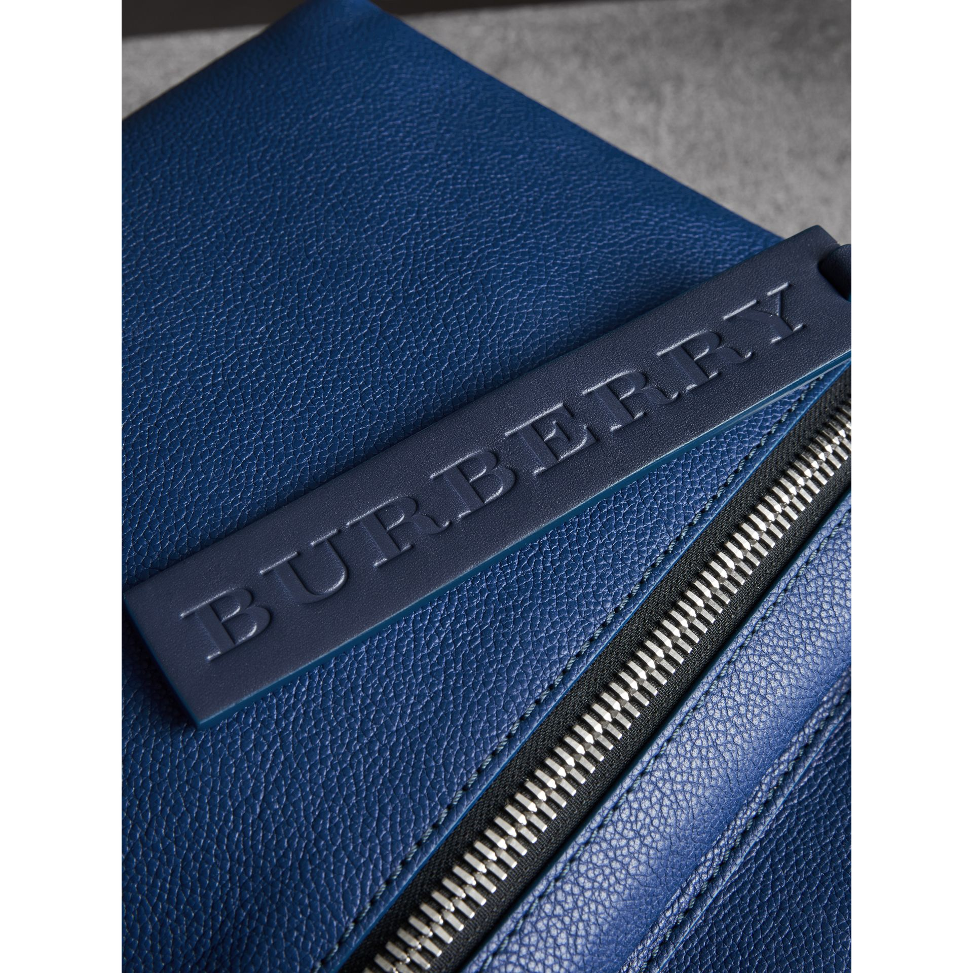 Zip-top Leather Backpack in Bright Ultramarine - Men | Burberry Australia - gallery image 1