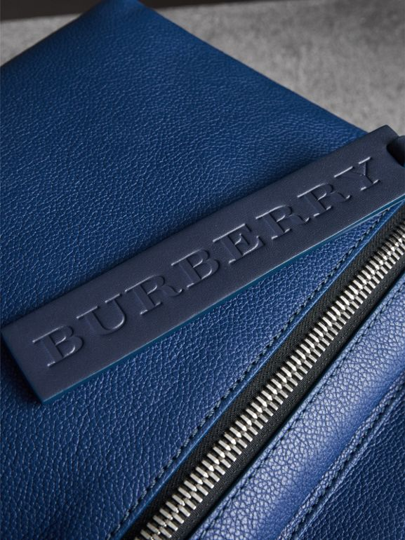 Zip-top Leather Backpack in Bright Ultramarine - Men | Burberry Australia - cell image 1