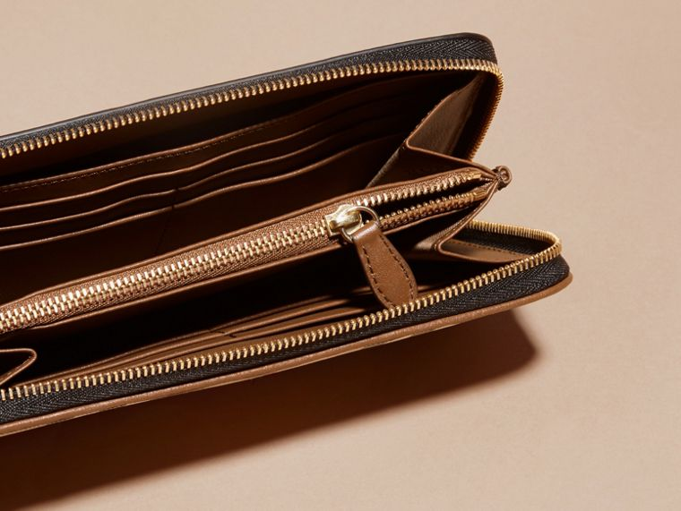 Horseferry Check and Leather Ziparound Wallet in Tan - Women | Burberry - cell image 4