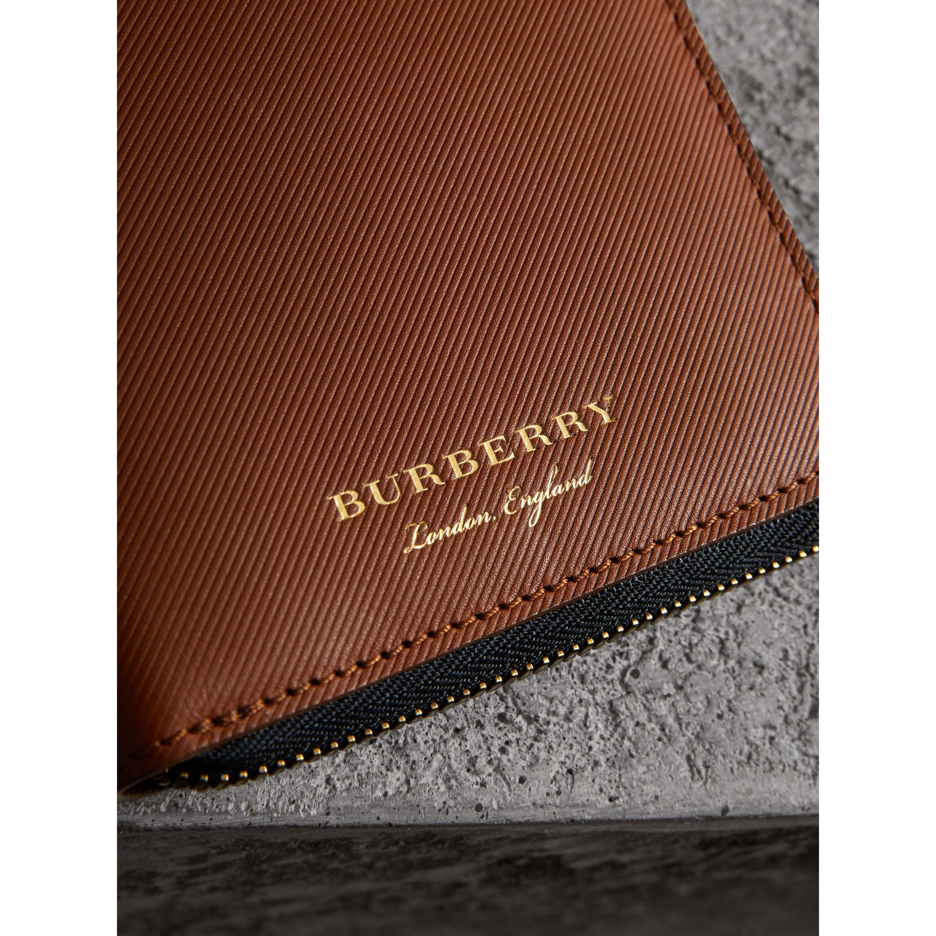 Trench Leather Ziparound Wallet in Tan - Men | Burberry Australia - gallery image 2