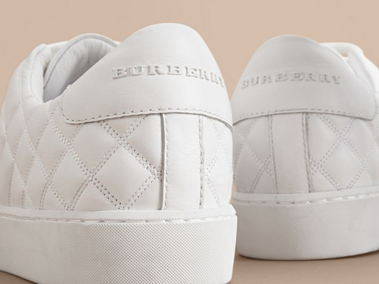 Check-quilted Leather Sneakers in Optic White - Women | Burberry Singapore - cell image 1