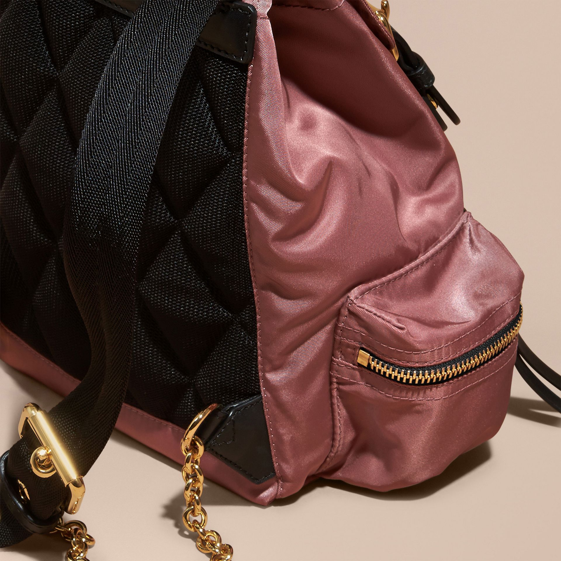 The Small Rucksack in Technical Nylon and Leather in Mauve Pink - gallery image 4
