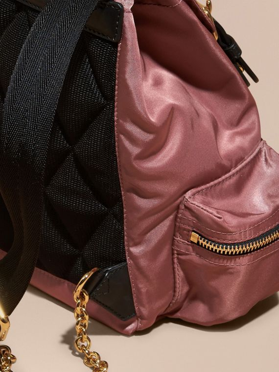 The Small Rucksack in Technical Nylon and Leather in Mauve Pink - cell image 3