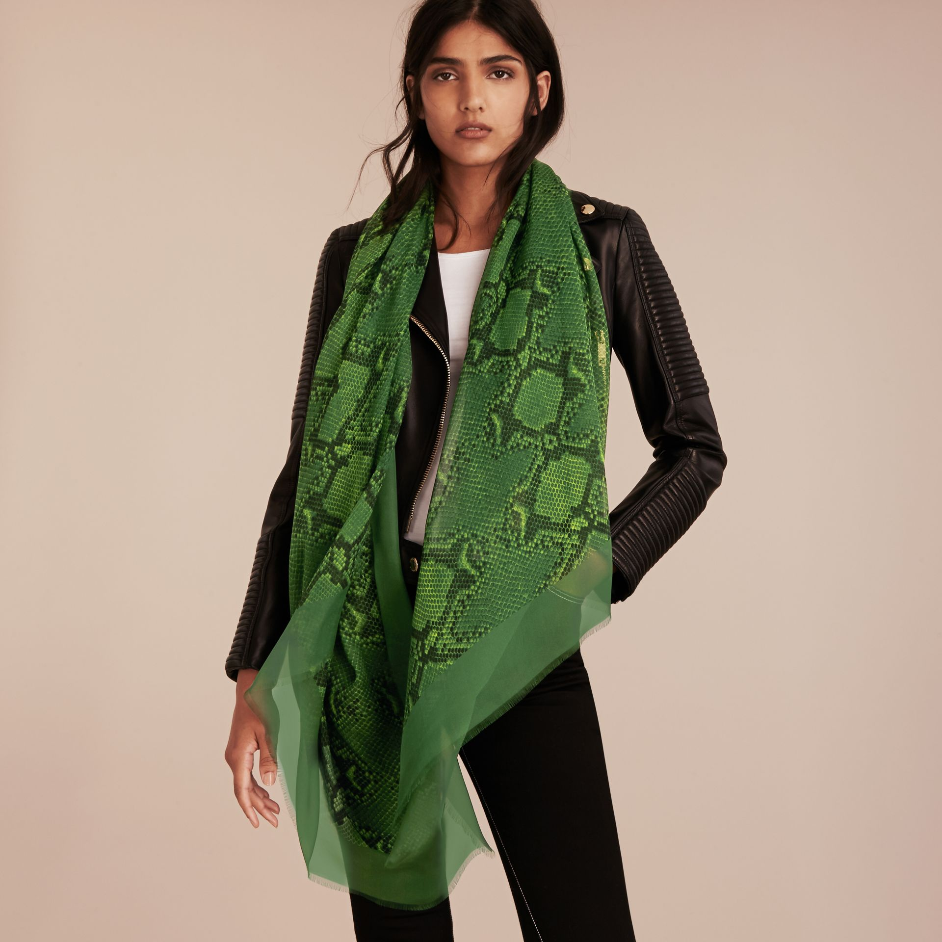 Bright green Python Print Silk Scarf Bright Green - gallery image 3