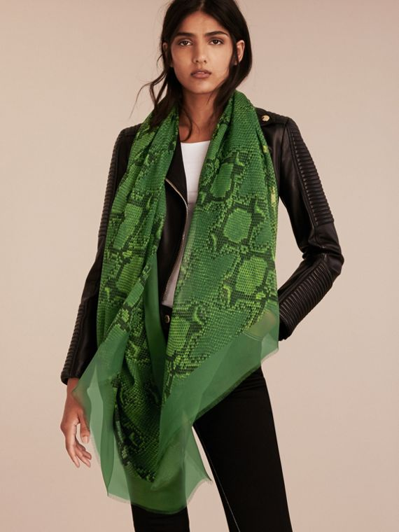 Bright green Python Print Silk Scarf Bright Green - cell image 2