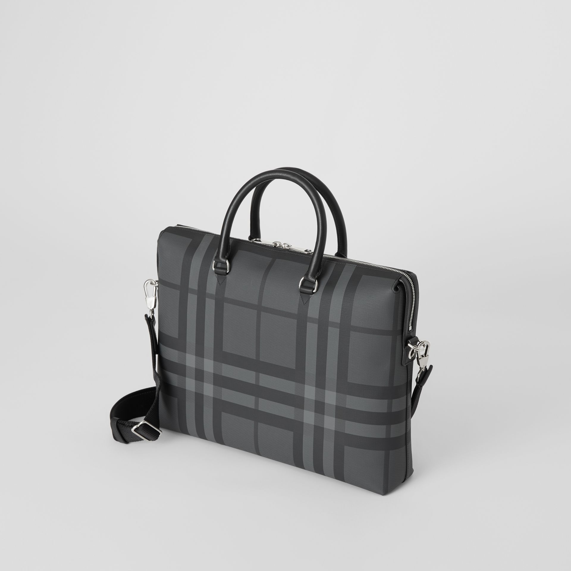 Large London Check Briefcase in Charcoal/black - Men | Burberry United Kingdom - gallery image 2