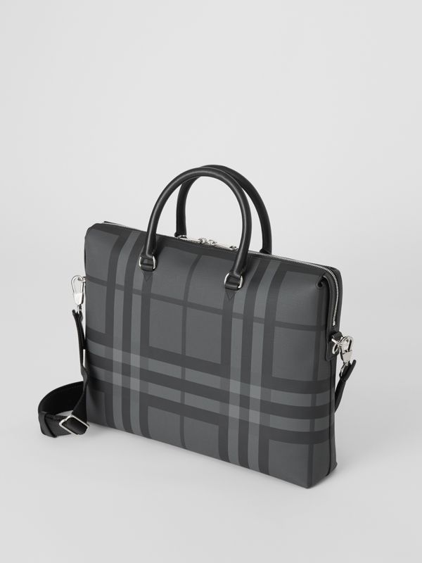 Large London Check Briefcase in Charcoal/black - Men | Burberry - cell image 2