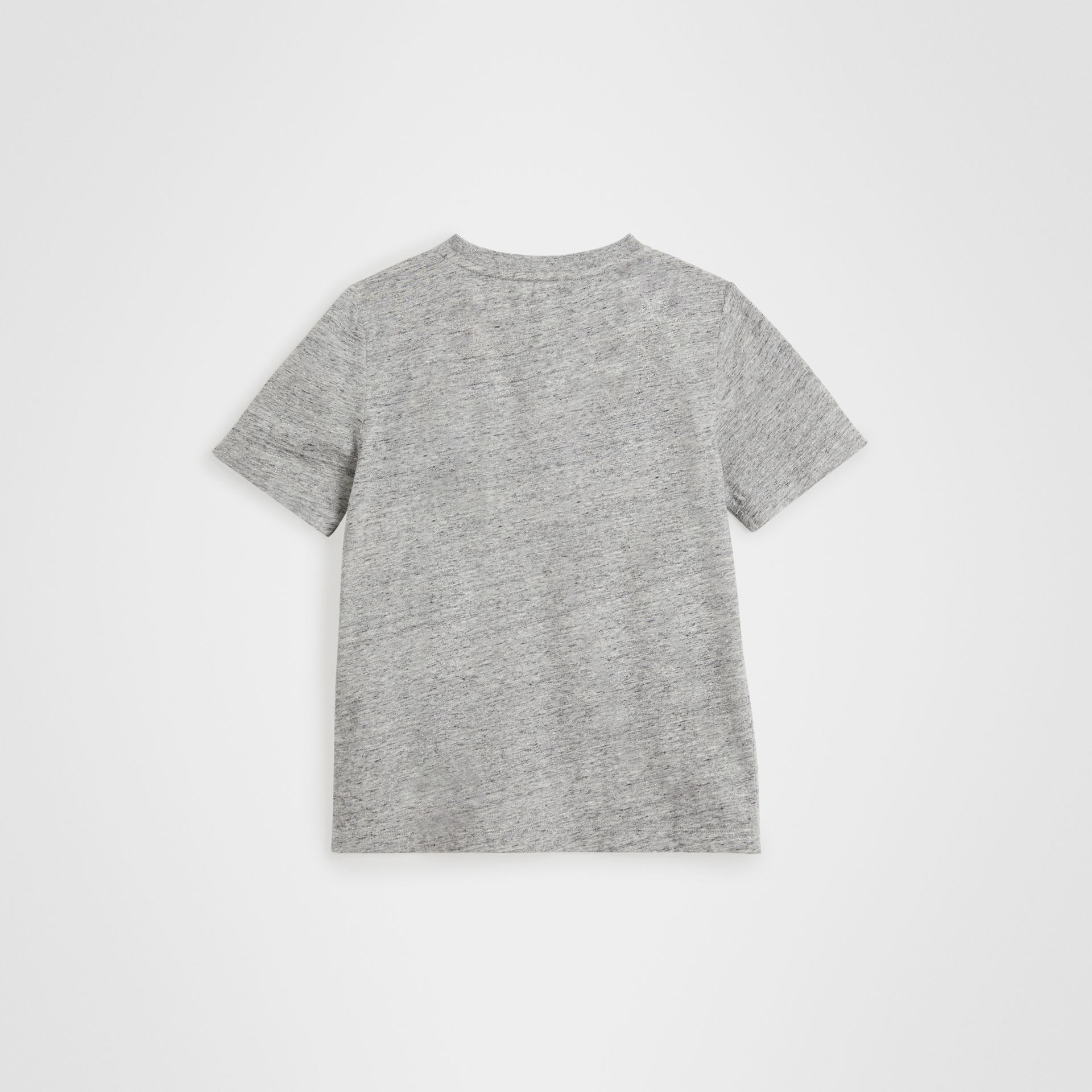 Logo Print Cotton Blend T-shirt in Grey Melange | Burberry Singapore - gallery image 3