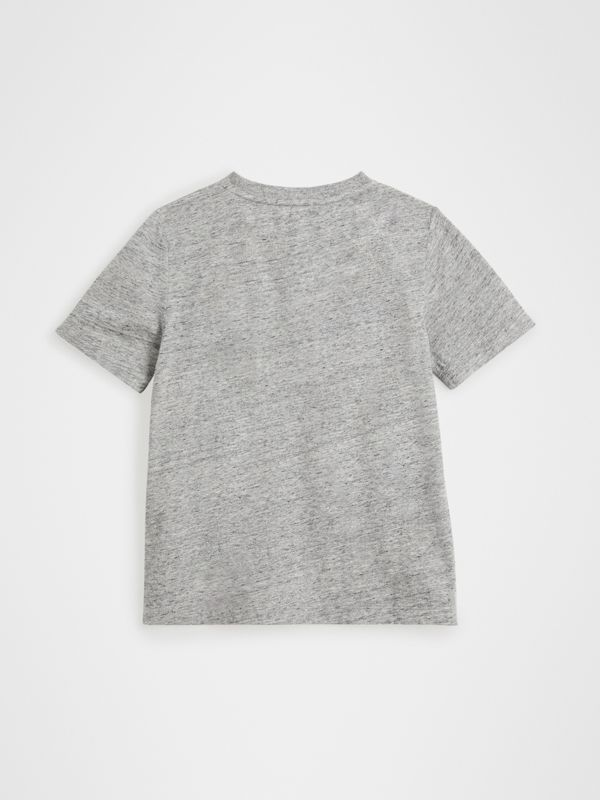 Logo Print Cotton Blend T-shirt in Grey Melange | Burberry - cell image 3