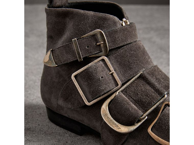 Buckle Detail Suede Ankle Boots in Dark Storm Grey - Women | Burberry - cell image 1