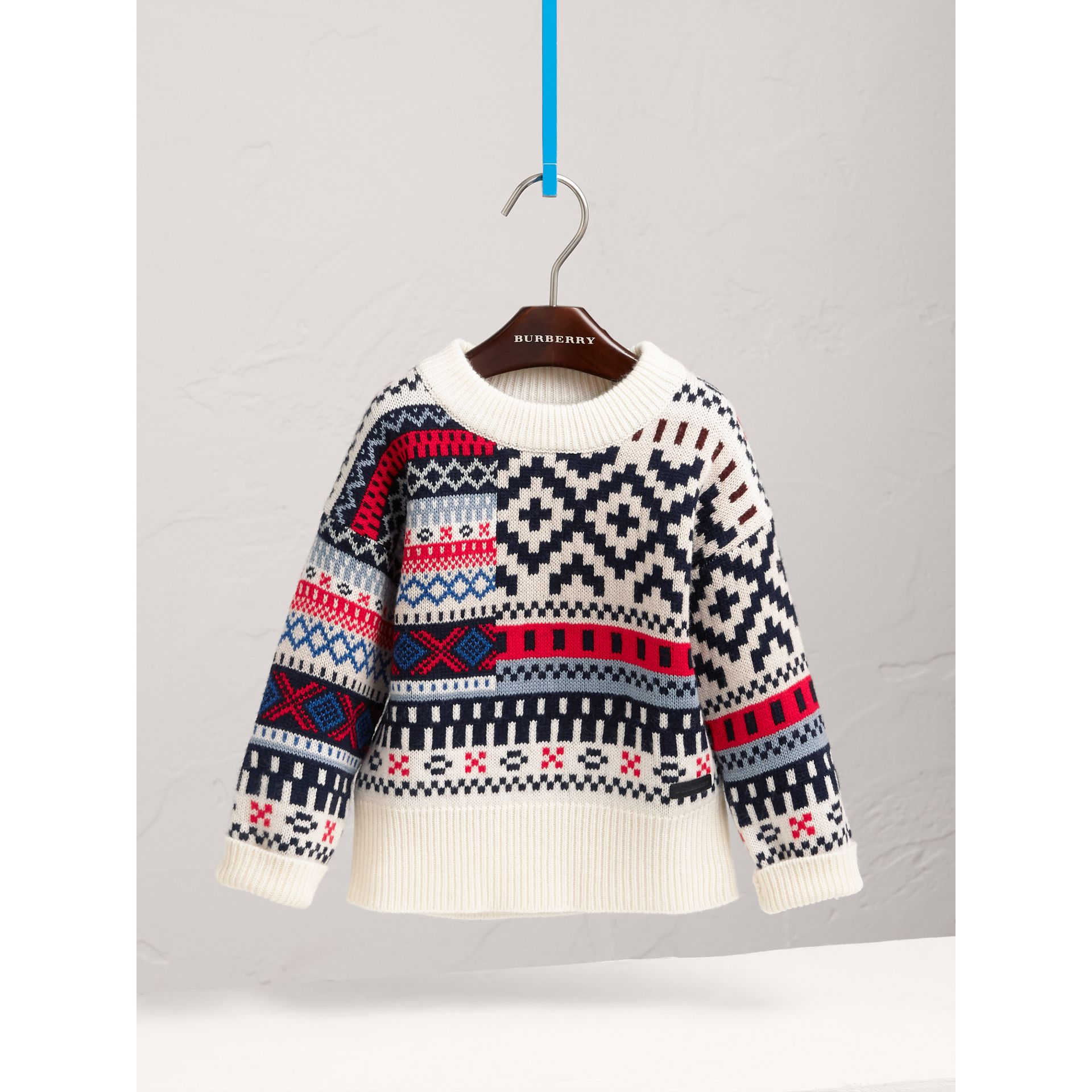 Fair Isle Wool Cashmere Patchwork Sweater in Pewter Blue - Girl | Burberry - gallery image 3