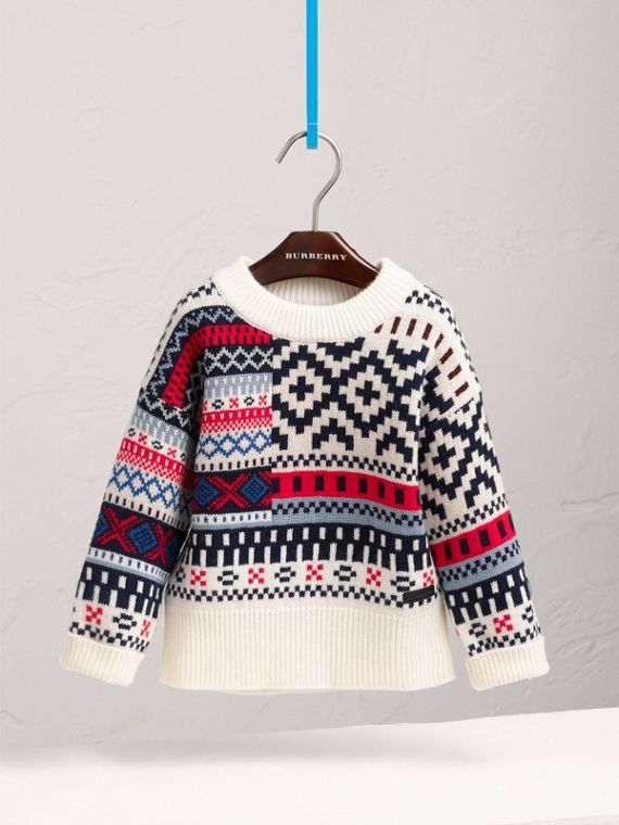 Fair Isle Wool Cashmere Patchwork Sweater in Pewter Blue - Girl | Burberry - cell image 2