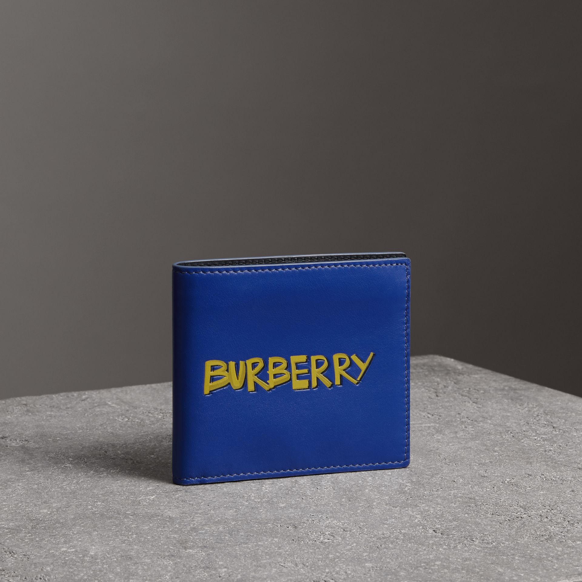 Graffiti Print Leather International Bifold Wallet in Denim Blue - Men | Burberry United Kingdom - gallery image 0