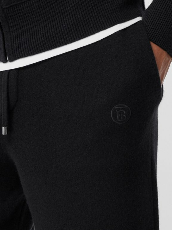 Monogram Motif Cashmere Blend Trackpants in Black - Men | Burberry - cell image 1
