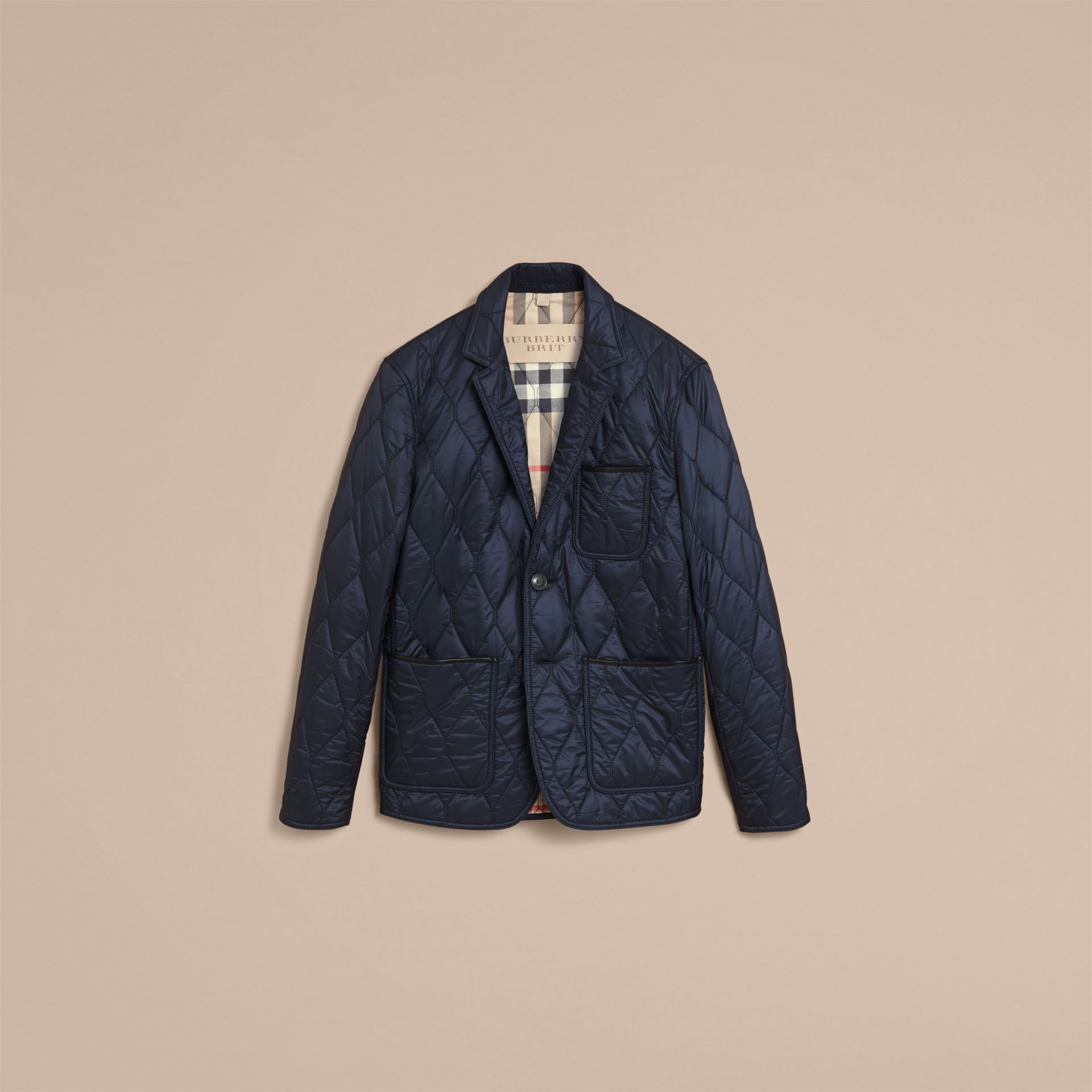 Lambskin Trim Quilted Blazer - Men | Burberry - gallery image 4