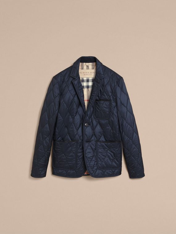 Lambskin Trim Quilted Blazer - Men | Burberry - cell image 3