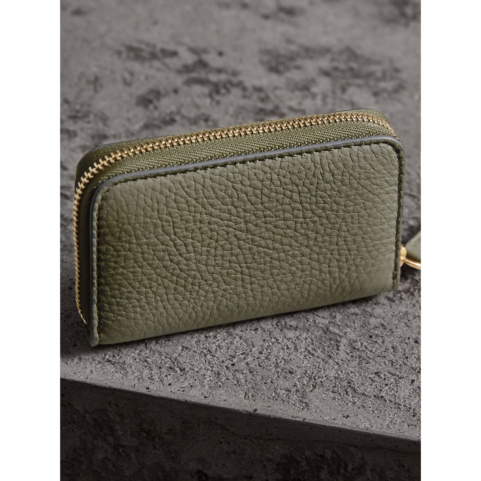 Textured Leather Ziparound Coin Case in Slate Green - Men | Burberry - gallery image 3