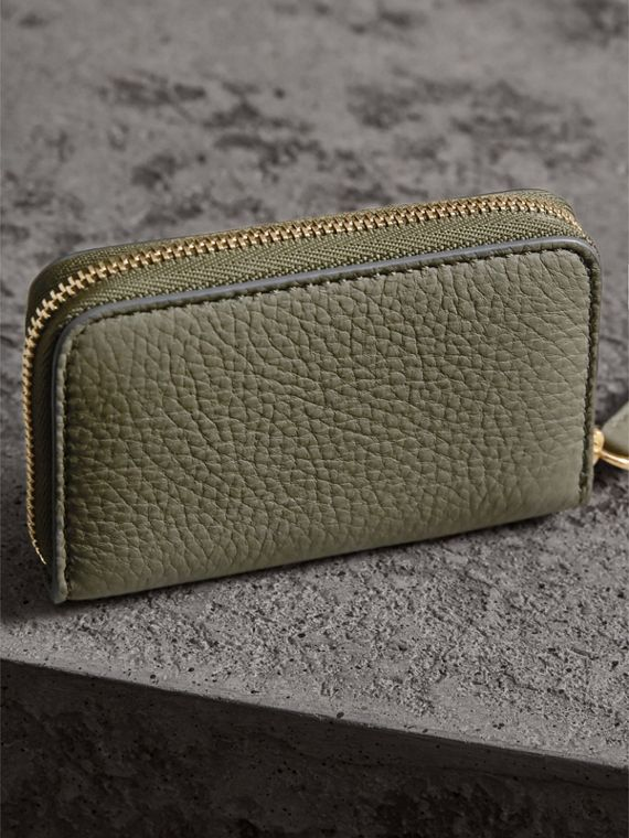 Textured Leather Ziparound Coin Case in Slate Green - Men | Burberry - cell image 2
