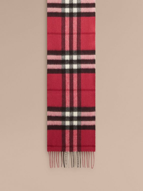 Fuchsia pink The Mini Classic Cashmere Scarf in Check Fuchsia Pink - cell image 2