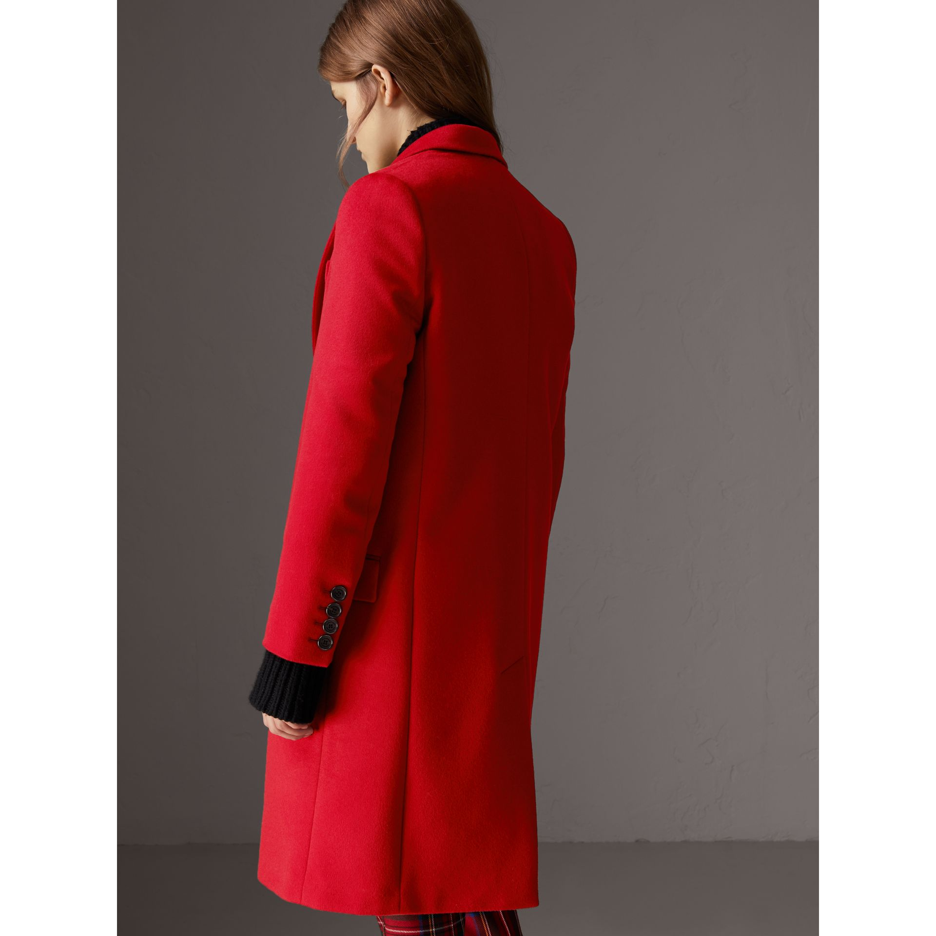 Wool Cashmere Tailored Coat in Parade Red - Women | Burberry Singapore - gallery image 2