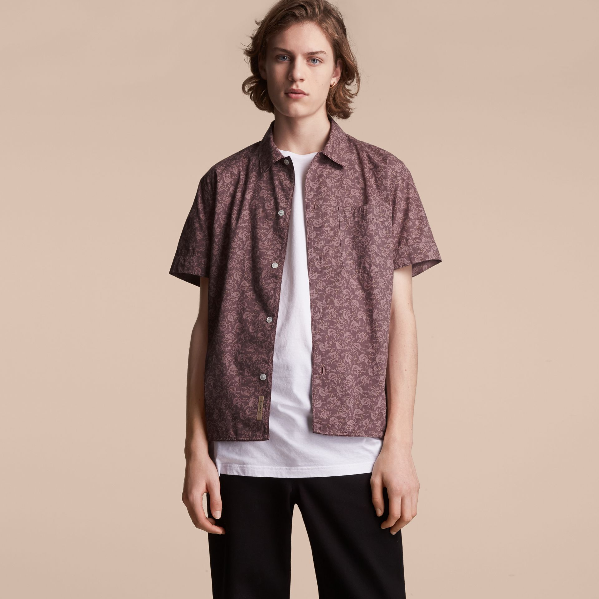 Short-sleeve Leaf Print Cotton Shirt in Mauve - Men | Burberry - gallery image 6