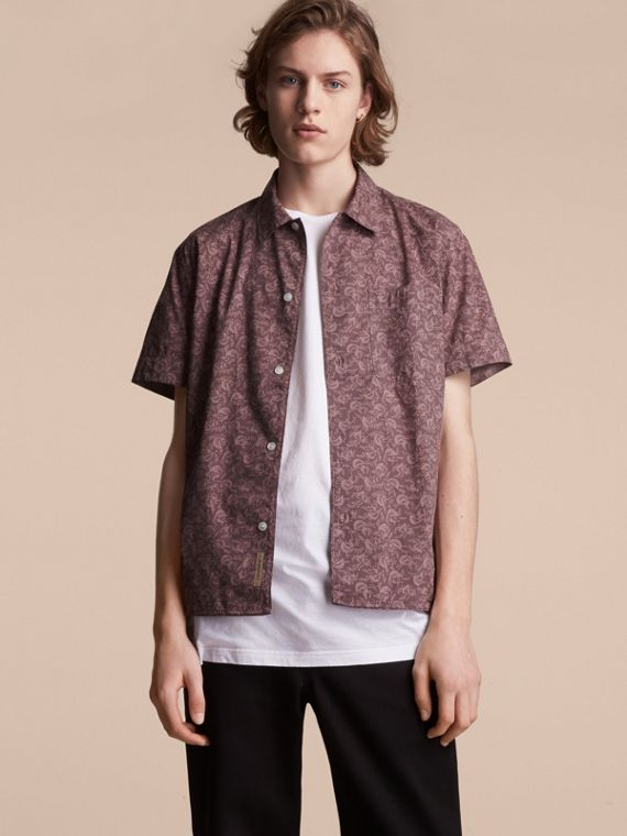 Short-sleeve Leaf Print Cotton Shirt