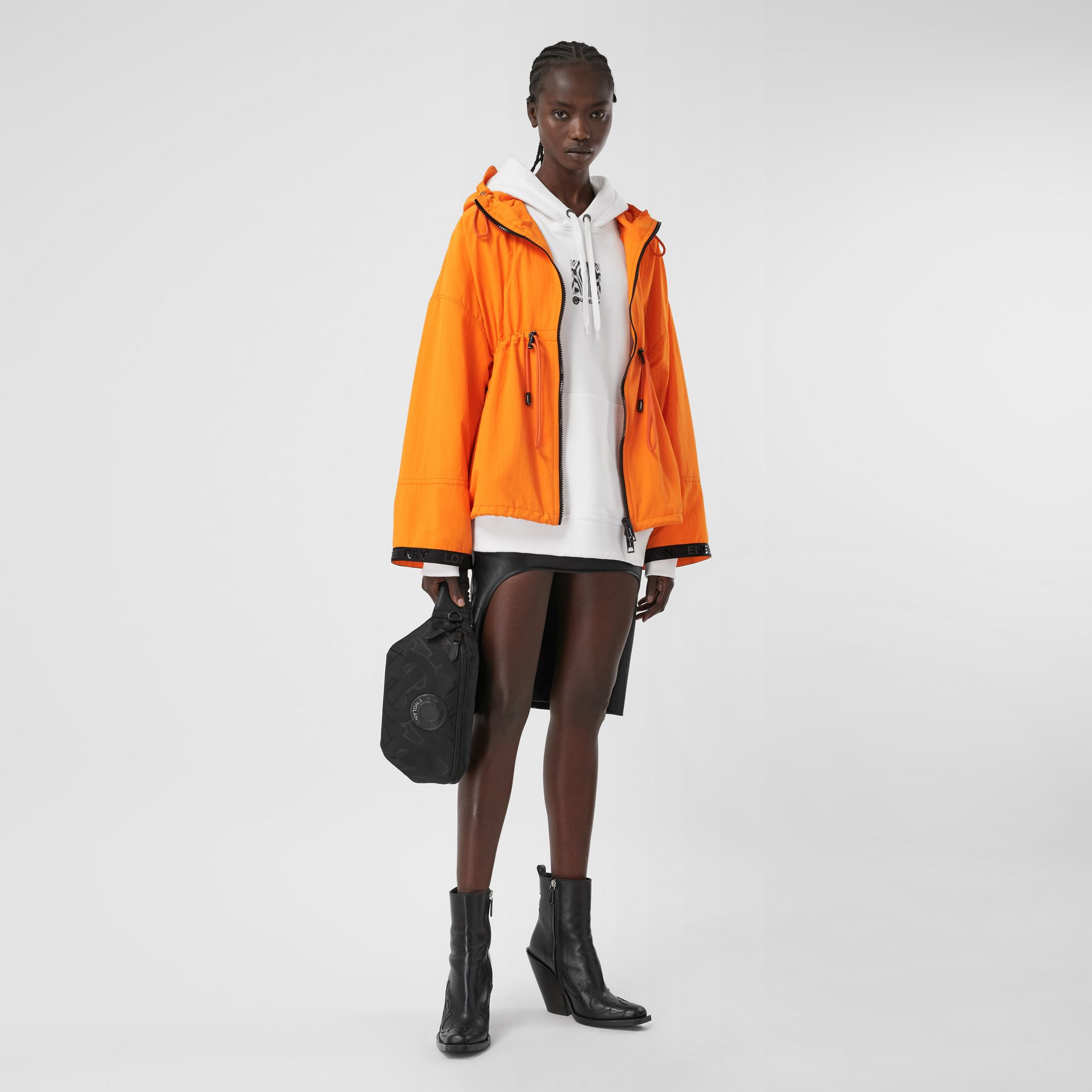 Logo Tape Technical Nylon Hooded Jacket in Bright Orange | Burberry United Kingdom - gallery image 0
