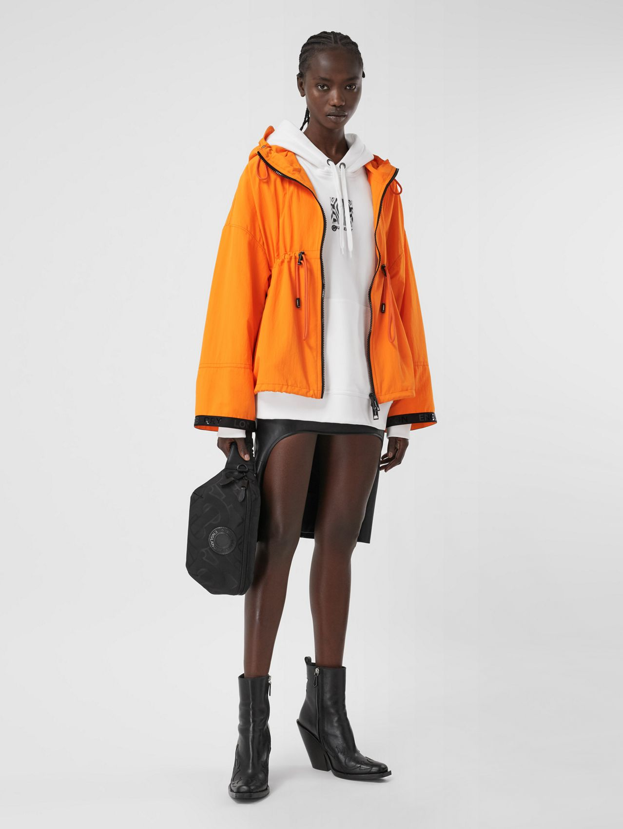 Logo Tape Technical Nylon Hooded Jacket (Bright Orange)