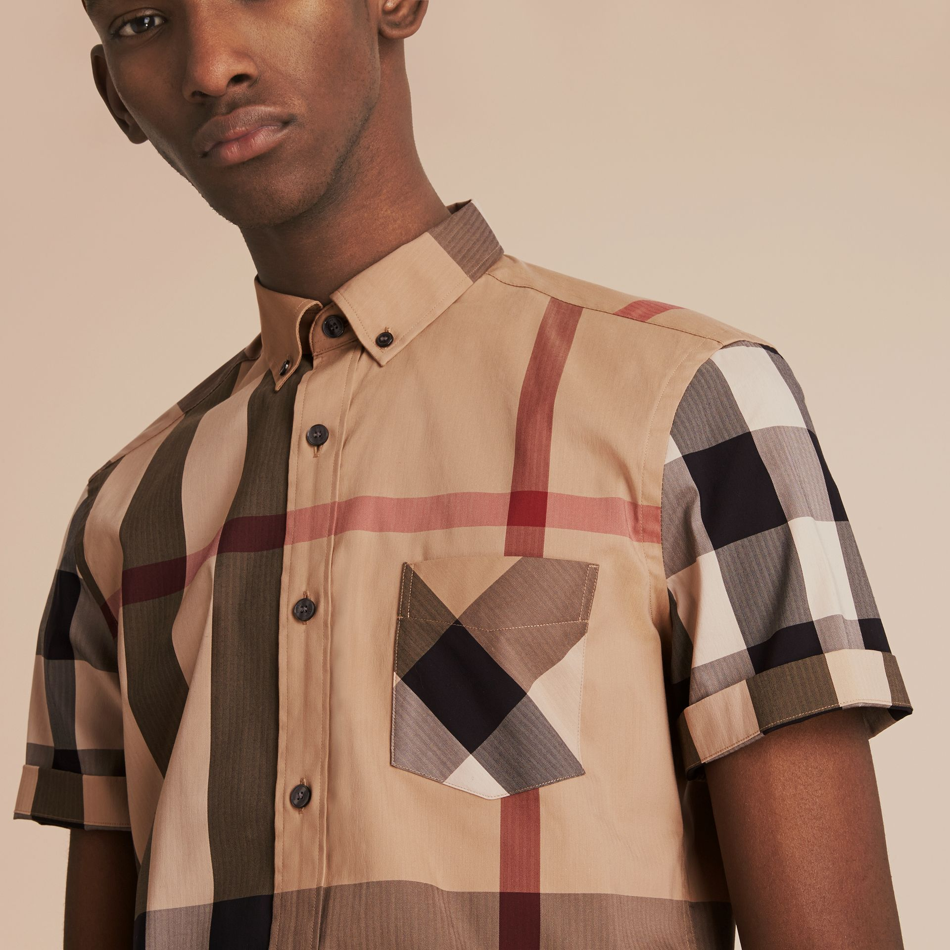 Short-sleeved Check Stretch Cotton Blend Shirt Camel - gallery image 5