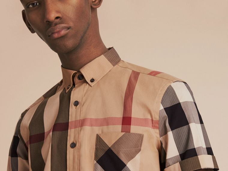 Short-sleeved Check Stretch Cotton Blend Shirt Camel - cell image 4