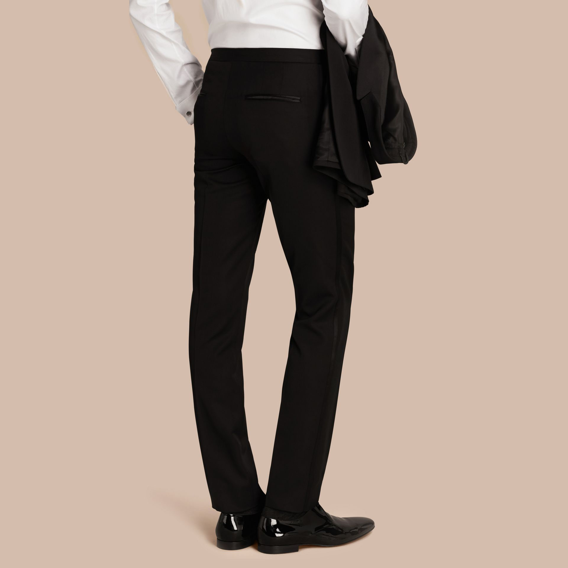 Virgin Wool Tuxedo Trousers Black - gallery image 3