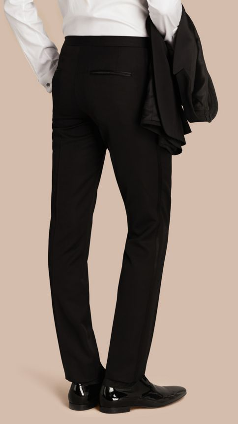 Black Virgin Wool Tuxedo Trousers Black - Image 3