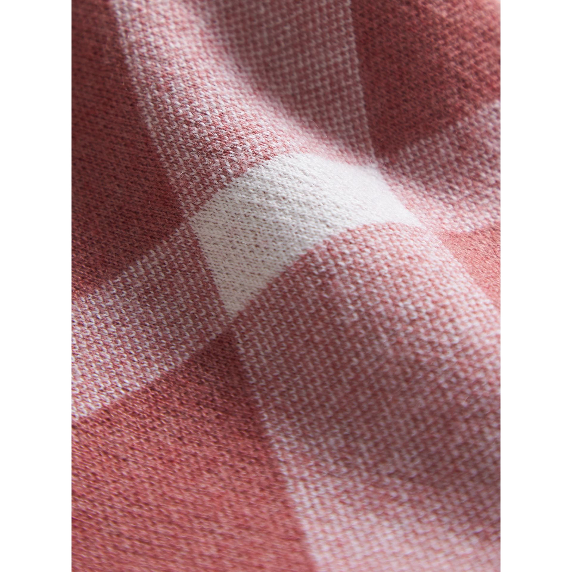 Check Cotton Cashmere Blend Dress in Mauve Pink | Burberry - gallery image 2