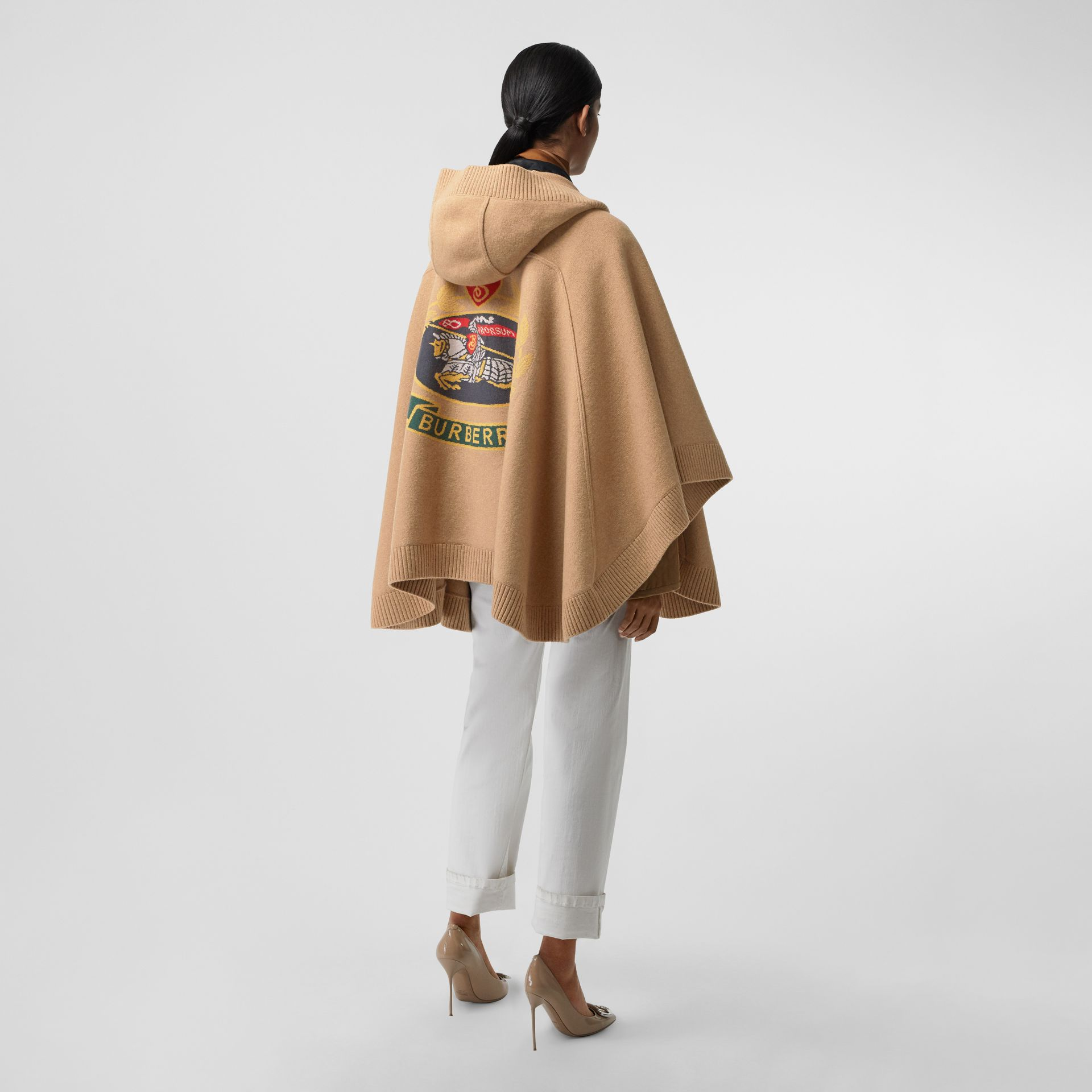 Crest Wool Blend Jacquard Hooded Cape in Rusty Camel - Women | Burberry - gallery image 0