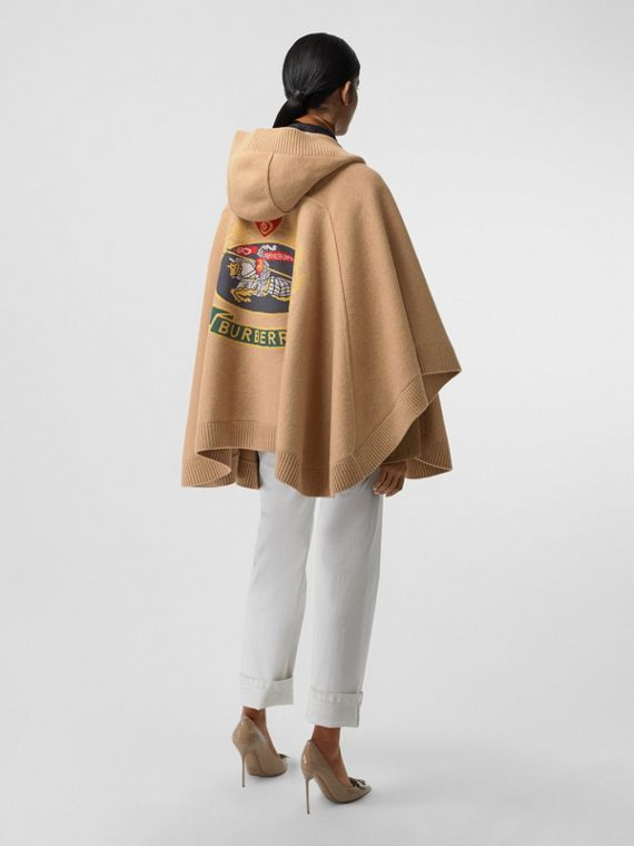 Crest Wool Blend Jacquard Hooded Cape in Rusty Camel