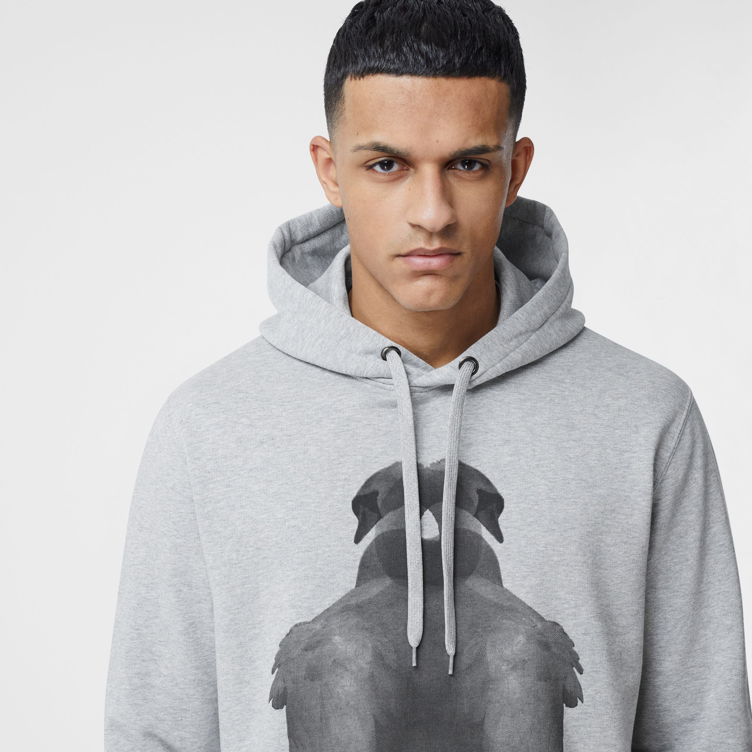 Montage Print Cotton Hoodie in Pale Grey Melange - Men | Burberry Canada - 2