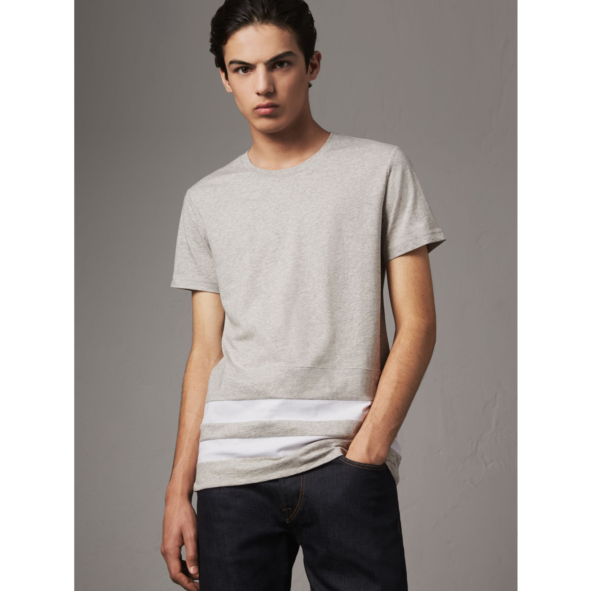 Striped Hem Cotton T-shirt in Pale Grey Melange - Men | Burberry - gallery image 0